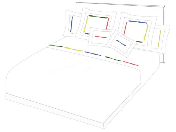 linge de Lit GOUACHE parure housse de couette drap taie oreiller lin couleurs graphique marie de fels drap